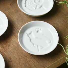かげあそび 8.2cm白磁醤油皿 ねこ