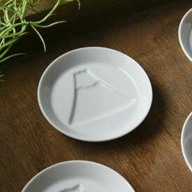 かげあそび 8.2cm白磁醤油皿 富士山