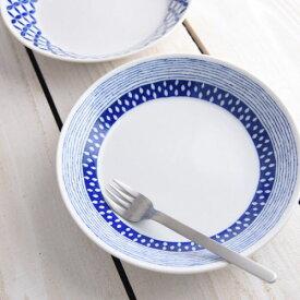 ブルーパターン 20.5cmプレート サザナミ