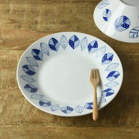 ブルーパターン 24cm少し大きめカレー皿(パスタ皿) コノハ