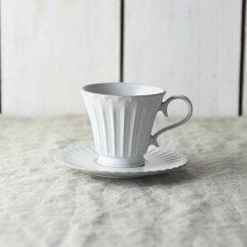シュシュ・グレース コーヒーカップ&ソーサー ラスティックホワイト(段)