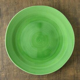 小田陶器 櫛目(kushime) 27cm受皿 緑釉(H2.9cm)