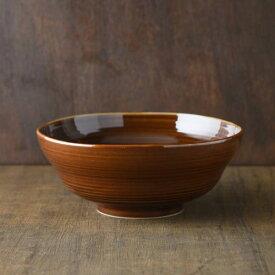 小田陶器 櫛目(kushime) 19cm麺鉢 アメ釉