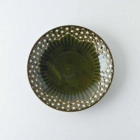 【うすかる】麻柄つなぎ 16.8cm取り皿 オリーブ 軽量食器