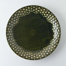 【うすかる】麻柄つなぎ 22.3cm大皿 オリーブ 軽量食器