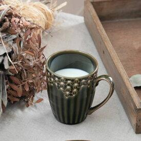 【うすかる】麻柄つなぎ 10.5cmマグカップ オリーブ 軽量食器