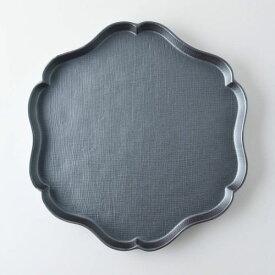 【箱入り】花うふれ 24cm大皿 ブラック[H701]