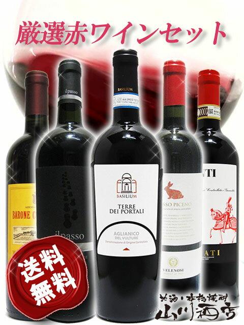 【送料無料】【イタリア 赤ワイン】厳選イタリア赤ワイン5本セット(750ml×5) 【4162】【バレンタインデー】