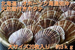 北海道オホーツク湧別沖 天然殻付きホタテ20枚大サイズ(約3kg)ほたて BBQ 天然