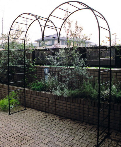 ガーデンアーチ M型 ロートアイアン 組立式 アンカーピン付属 ゲート アーチ