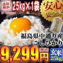 【送料無料】平成28年産 福島県中通り産 コシヒカリ 玄米:25kg(25kg×1袋)