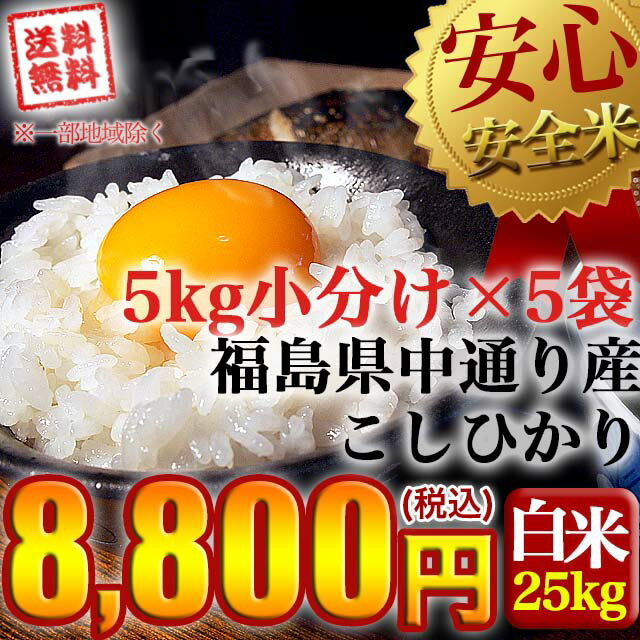 新米【送料無料】平成30年産 福島県中通り産 コシヒカリ 白米:25kg(5kg×5個)