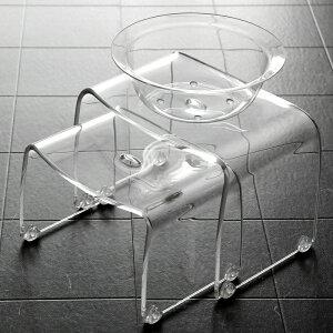 アクリル製バスチェアFavorフェイヴァ[S][M]サイズ&バスボウル3点セットアクリルバスチェアーシャワーチェアバスチェアー風呂イス風呂椅子お風呂いすお風呂椅子洗面器風呂桶[クリア/ブラウン/ブルー]高級感フェイバお洒落おしゃれ