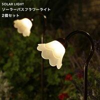 タカショーソーラーライト「ソーラーパスフラワーライト2個セット」LED色:電球色フラワーライト花屋外/防雨製/照度センサーガーデンライト/庭の照明ニッケル水素充電池