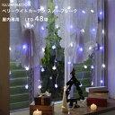 「ベリーライトカーテン 48球 スノーフレーク」 室内用 LEDイルミネーションライト クリスマス デコレーション 雪の結晶 モチーフ 電飾 屋内 室内 カーテ...