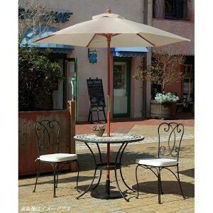 ガーデンテーブル5点セット「ルナモザイクテーブル36セットパラソル付き」≪テーブル1台+チェアー2脚+パラソル1本+パラソルベース1台≫