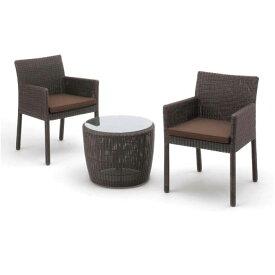 タカショー ガーデンテーブル3点セット 「庭座 サイドテーブルセット (スクエアチェアー)」 ≪テーブル1台+チェアー2脚≫ 高級人工ラタンファニチャー ロムガーデンシリーズ