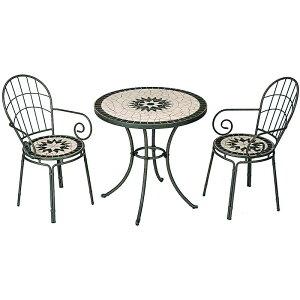 タカショー ガーデンテーブルセット 「タンジールモザイクセット マットグリーン」 ≪テーブル1台+チェアー2脚≫ 丸テーブル/艶やかな模様のタイルテーブル3点セット♪