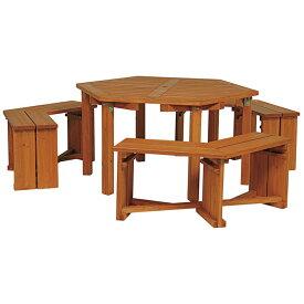 タカショー ガーデンテーブルセット 「ウッディーガーデン六角テーブル&ベンチセット」 ≪テーブル1台+ベンチ3脚≫ ナチュラルな木肌のテーブル4点セット♪