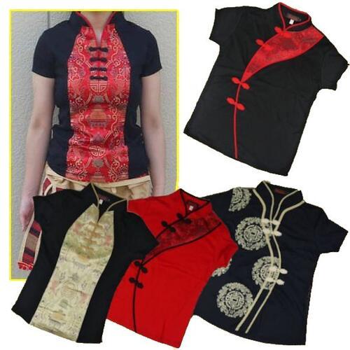 【メール便可】チャイナ風 トップス 半そで M&L&XLサイズ 中国風 中華風 チャイナ服 ダンス 太極拳衣装にも