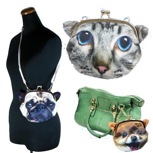 【送料無料】3Dプリント ワンちゃん 猫ちゃん アニマルフェイス ポーチ がま口バッグ