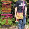 【メール便可】モン族ショルダーバッグトートバッグ[エスニックバッグ]刺繍かわいいボタン