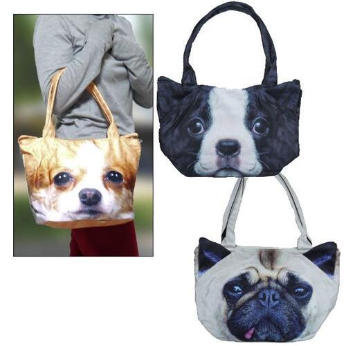 【送料無料】かわいい プリントバッグ 犬、猫 3Dプリント ワンちゃん 猫ちゃん アニマルフェイス バッグ