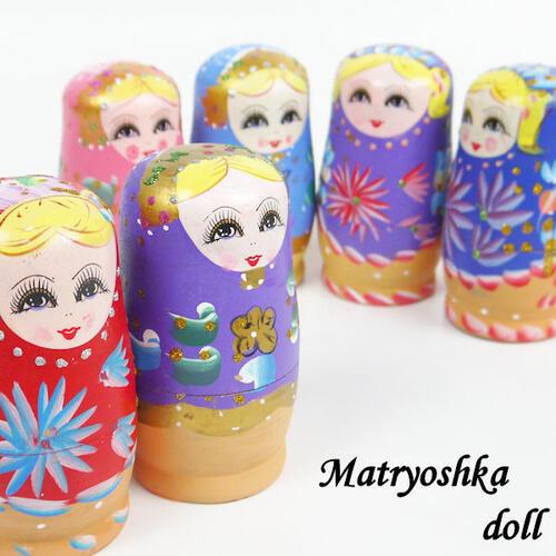 【あす楽】【送料無料】マトリョーシカ マトリューシカ 5個 入れ子人形 木製 高さ約12cm S