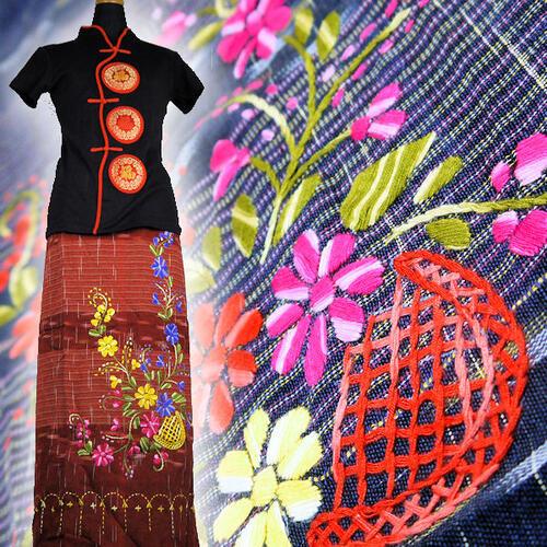 【送料無料】チェンマイコットン 絣織り 花 刺繍  巻きスカート No21〜29