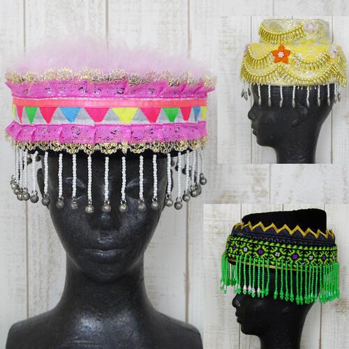 【送料無料】ビンテージ 基調な モン族 民族衣装 帽子 ドーナツスタイル