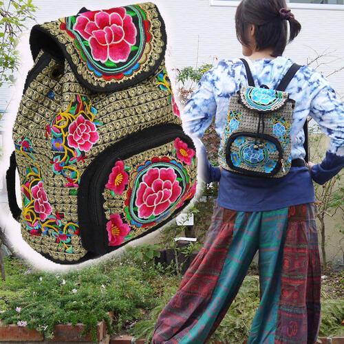 【送料無料】【あす楽】調整可能ショルダー紐 モン族 バッグ マシンメイド 花&ぐるぐる刺繍 小さめ リュックサック 巾着 マグネットボタン