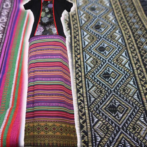【送料無料】チェンマイコットン 巻きスカート ボーダー 織布 シックなデザイン