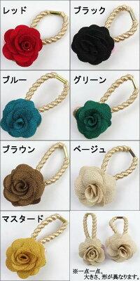 【メール便可】和テイスト薔薇バラモチーフヘアゴム