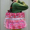 モン族古布刺繍ハンドバッグジッパー付全面刺繍深さ約32cmの大容量!