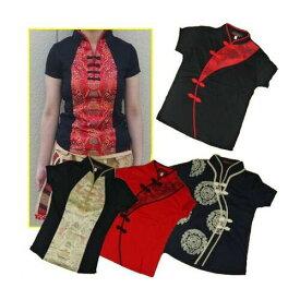 【メール便可】レディース チャイナ風 トップス 半そで M&L&XLサイズ 中国風 中華風 チャイナ服 ダンス 太極拳衣装にも