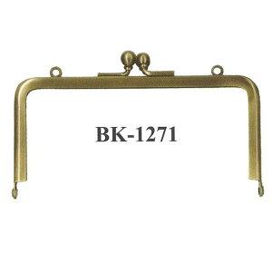 小物口金 BK-1271 手作りがま口バック、ポーチ、財布 制作用 副資材 シンプルな四角玉付き口金 初心者向け説明書付き【inazuma】