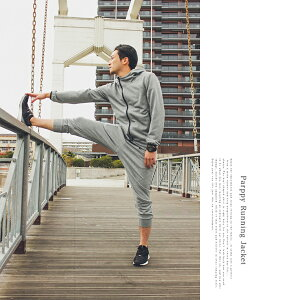 ランニングスウエットパーカージャケットフルジッブフーディーランニングウェアスウェットシャツライダース上アメカジカジュアル吸汗速乾ポリエステルランニング陸上マラソンジョギング散歩ダンスメンズ男性グレー無地日本製parppyパーピー