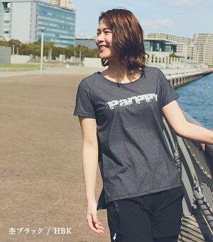 Tシャツビッグロゴ半袖ランニングウェアレディース女性マラソンおしゃれジョギングランニングウォーキングカジュアルスポーツ日本製parppyパーピー