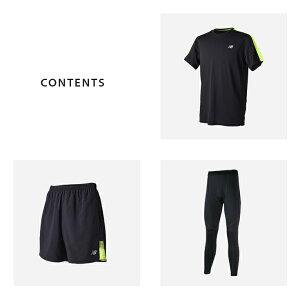 ニューバランスランニングウェアメンズHANZOセット3点(半袖Tシャツパンツタイツ)NewBlance初心者上下男性おしゃれジョギング靴下フルマラソン福袋