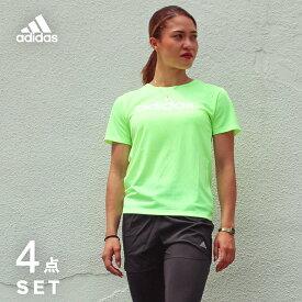 アディダス ランニングウェア セット レディース 4点 adidas 半袖Tシャツ + パンツ + タイツ + ソックス 初心者 上下 女性 ジョギング フルマラソン レギンス スパッツ 福袋 ウォーキング