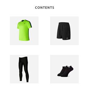 ニューバランスランニングウェアメンズセット4点(半袖Tシャツパンツタイツソックス)NewBlance初心者上下男性おしゃれジョギング靴下スポーツフルマラソントレイル吸汗速乾福袋春