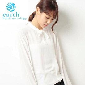 【限定特価】秋に一枚あると便利♪ アースミュージック&エコロジー ボウタイブラウス ホワイト 送料無料 (earth music &ecology)