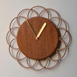 お花のような時計 マホガニーの時計 L