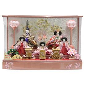 雛人形 五人ケース飾り 久月 5人揃い 幅61cm 小三五 アクリルケース・オルゴール付き ピンクのお雛様 (to1516) ひな人形 雛祭