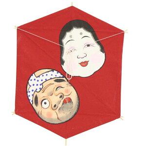 インテリア 手描き【和凧】六角凧 縦60×横48cm【福-128】おかめ絵凧 お正月飾り