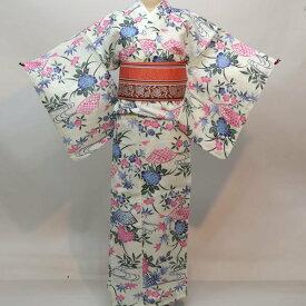 浴衣 仕立て上がり 女性用 綿80% 麻20% 152-167cm ゆかた単品 新品(株)安田屋 r323508764