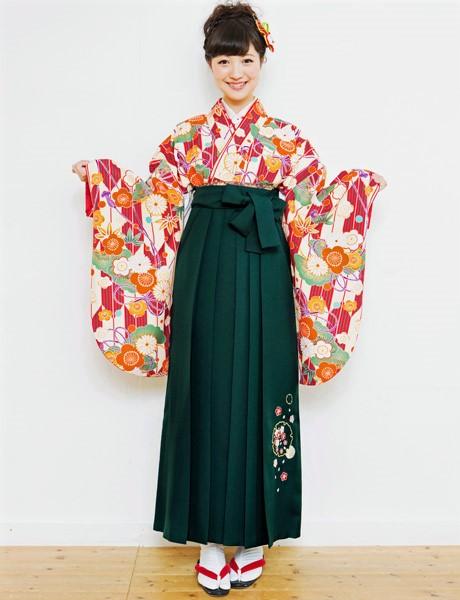 二尺袖着物袴フルセット 夢千代 2018年最新モデル 着物丈は着付けし易いショート丈 卒業式に 新品(株)安田屋 n235890439