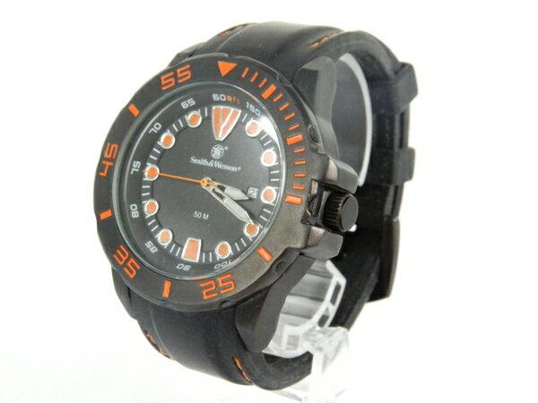 【中古】 SMITH&WESSON スミスアンドウェッソン 腕時計 50M クォーツ メンズ ラバーベルト デイト Y3909992