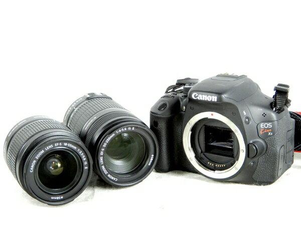 【中古】 Canon キヤノン 一眼 レフ EOS Kiss X5 ダブル ズーム レンズ キット デジタル カメラ ブラック K3673057