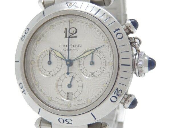 【中古】 Cartier カルティエ パシャ38 W31030H3 クロノグラフ メンズ 腕時計 裏スケ Y3277789